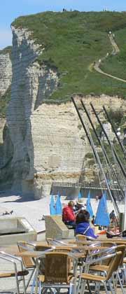 Etretat cafe on the beach