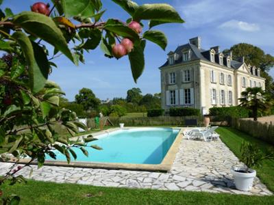 the pool next to the chateau