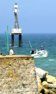 Fishing off the jetty at Courseulles