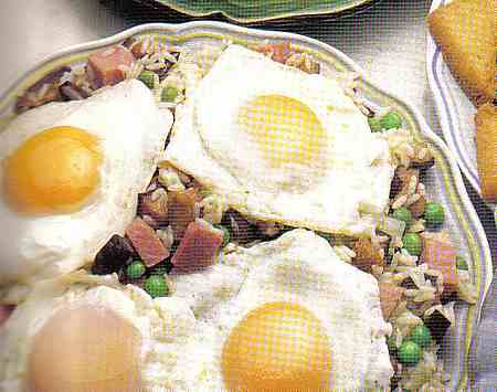 eggs with aubergines and ham picture