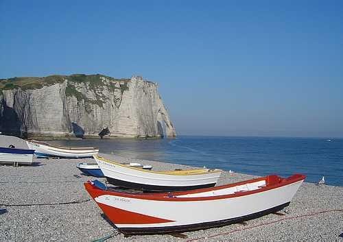 Etretat fishing boats france picture