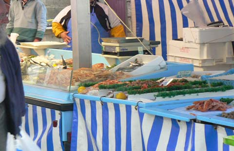 Granville fish stall Manche Normandy