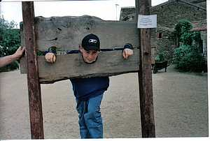 The village of Bazoges en Pareds the stocks