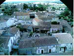 The village of Bazoges en Pareds from tower
