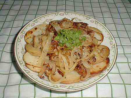 Fried potatoes with onions picture