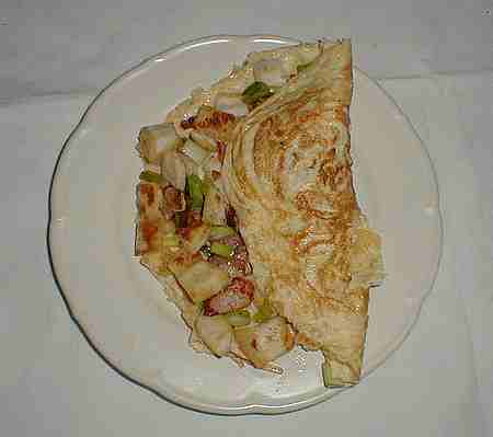 omelette with croutons recipe