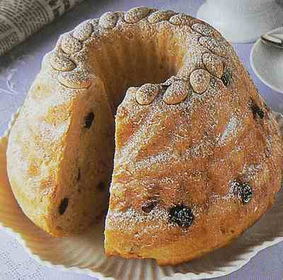 Kugelhopf kirsch and raisin loaf with almonds