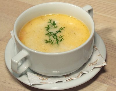 Leek and potato soup with vermicelli,recipe