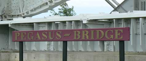 Pegasus bridge sign Calvados  Normandy