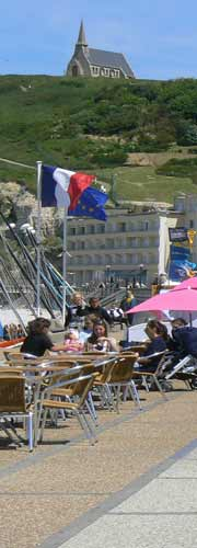 Etretat Normandie cafe on the beach