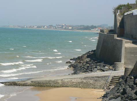 Arromanches les bains sea wall Calvados  Normandy